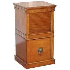 Rare C Hindley and Sons, 1766-1895 Satin Walnut Drinks Pedestal Cabinet Tambour