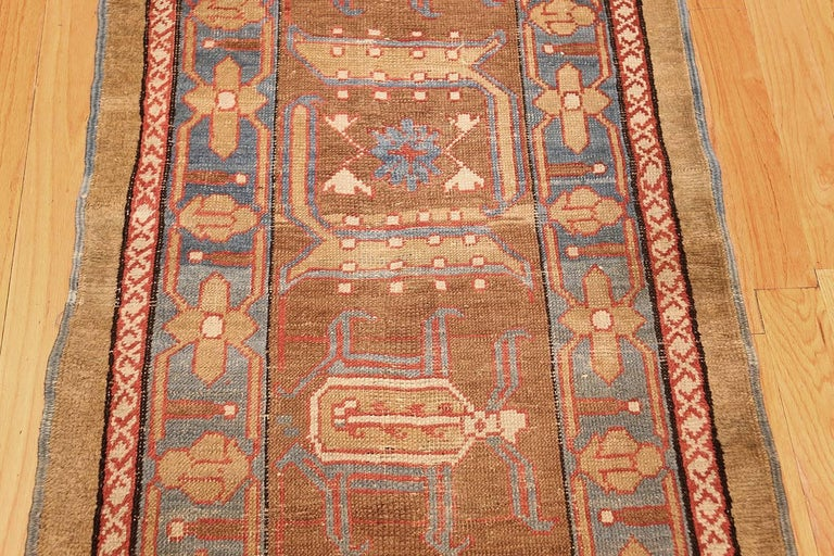 Hand-Knotted Rare Camel Hair Antique Bakshaish Persian Runner. Size: 2 ft 9 in x 17 ft  For Sale