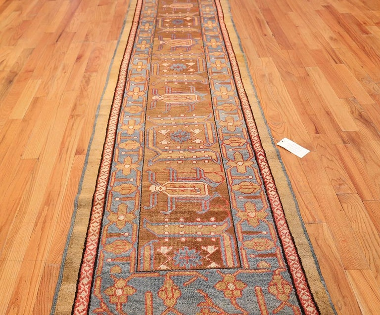 Rare Camel Hair Antique Bakshaish Persian Runner. Size: 2 ft 9 in x 17 ft  In Good Condition For Sale In New York, NY