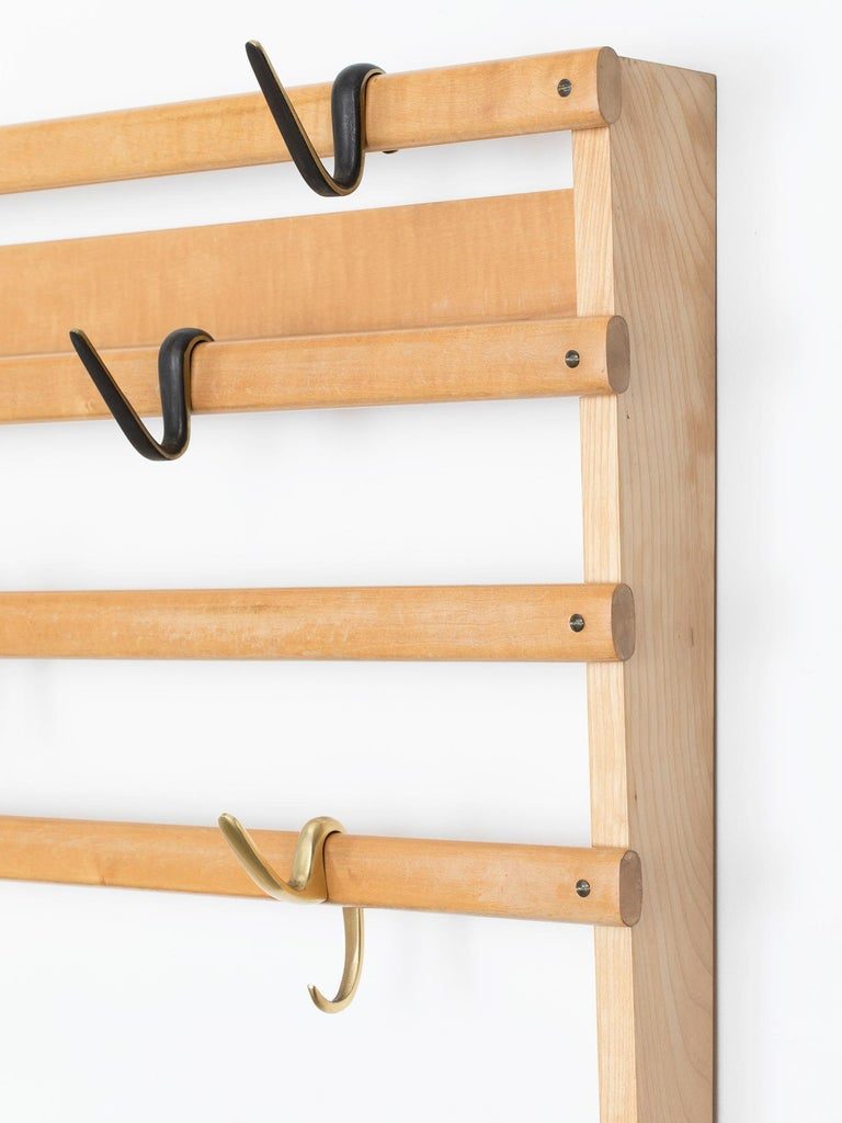 Rare Carl Auböck Wall Mounted Coat Rack In Excellent Condition For Sale In New York, NY