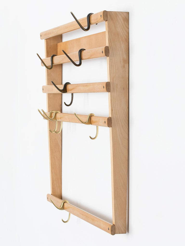 Mid-20th Century Rare Carl Auböck Wall Mounted Coat Rack For Sale