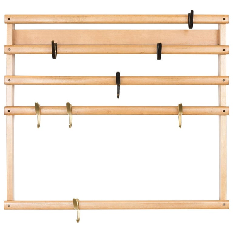 Rare Carl Auböck Wall Mounted Coat Rack For Sale