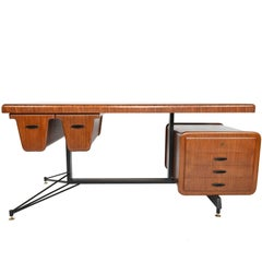 Carlo Ratti Italian Executive Midcentury Desk in Bent Mahogany Ply