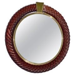 Rare Carlo Scarpa Venini Treccia Round Wall Mirror Brass Murano Glass, 1936