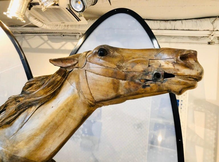 Rare Carousel Jumping Horse Illions Derby Racer by Marcus Charles Illions In Good Condition For Sale In Paris, France