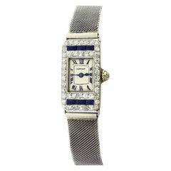 Rare Cartier Art Deco Rectangle Diamond Sapphire Platinum with Watch Strap
