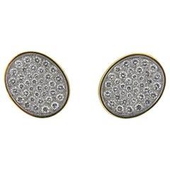 Rare Cartier Dinh Van Diamond Platinum Gold Earrings