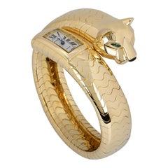 Rare Cartier Panthere Figurative Lakarda Yellow Gold Emerald & Onyx Set Watch