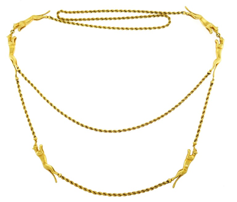 Rare Cartier Panthere Yellow Gold Chain Necklace In Excellent Condition In Beverly Hills, CA