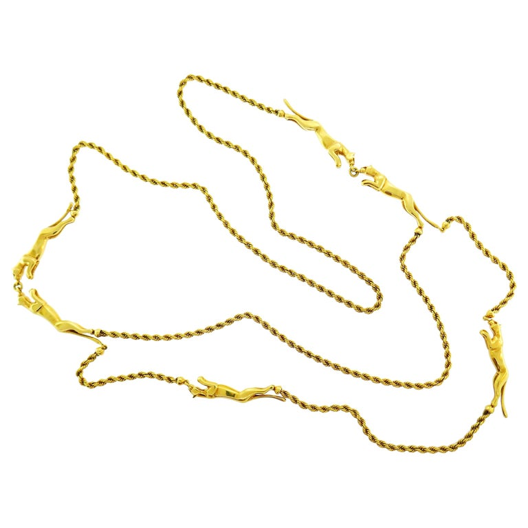 Rare Cartier Panthere Yellow Gold Chain Necklace