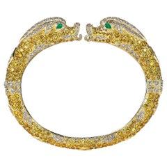 Rare Cartier Paris Chimera Vintage Yellow White Diamond Emerald Hinged Bracelet