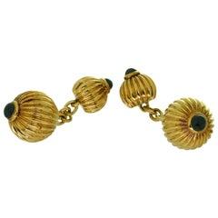 Rare Cartier Pasha Blue Sapphire Yellow Gold Cufflinks