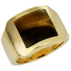 Rare Cartier Santos Tiger Eye Rose Gold Men's Ring