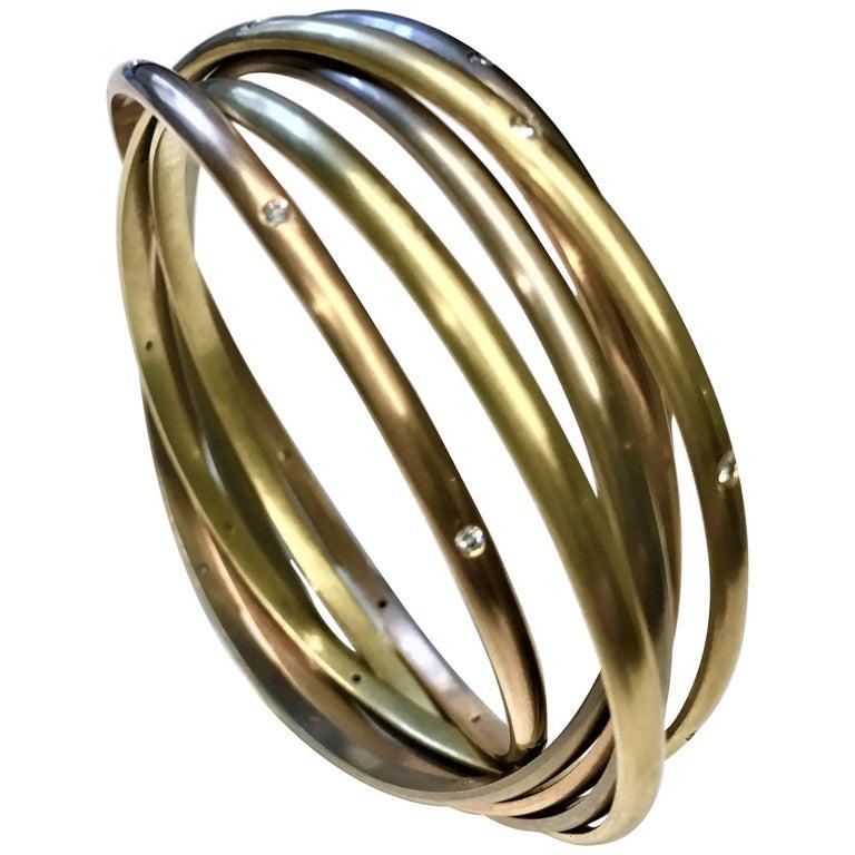 f966750922ce5 Rare Cartier Trinity Seven-Diamond White Yellow and Rose Gold Bangle  Bracelet
