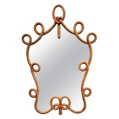 Rare Carved Wooden Rope Mirror, Spain, 1940s