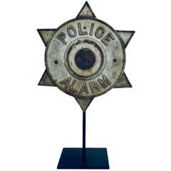 Rare Cast Iron Police Alarm Emblem on Custom Stand, circa 1940s