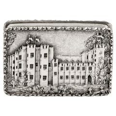 Rare Castle Top Vinaigrette Made in Birmingham in 1837 by Nathaniel Mills