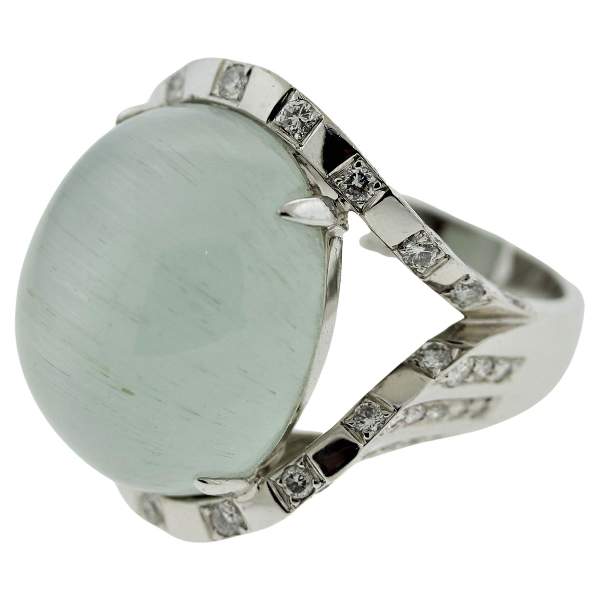 Rare Cat's Eye Aquamarine Diamond Gold Cocktail Ring