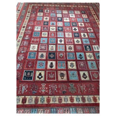 Rare Caucasian Large Carpet in Red Camel Wool Geometrical and Floral Decoration