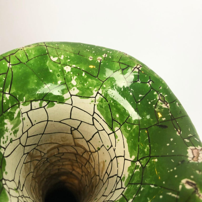 Mid-Century Modern Rare Ceramic Jar in Crackle Glaze Technique For Sale