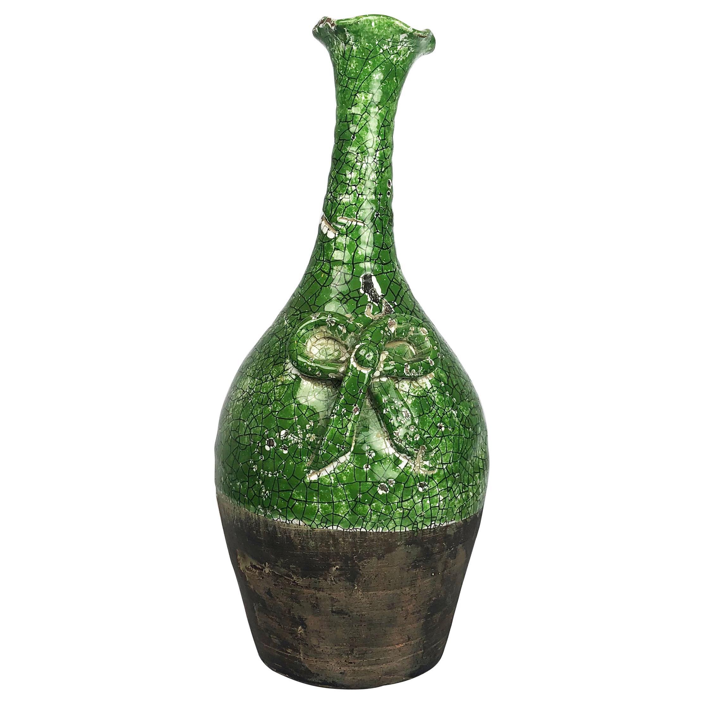 Rare Ceramic Jar in Crackle Glaze Technique