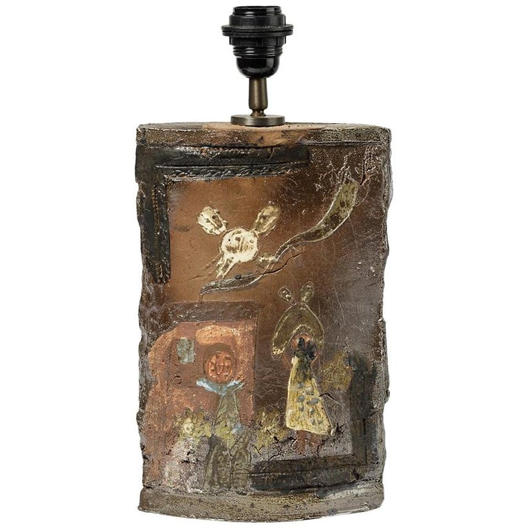 Rare Ceramic Table Lamp by Alain Girel with Figurativ Decoration from La Borne For Sale