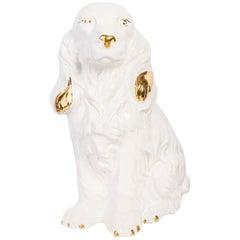 Rare Ceramic White Terracotta Spaniel Dog Decorative Sculpture, Italy, 1960s