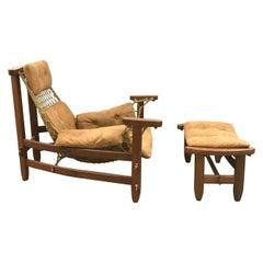 Rare Jangada Chair and Ottoman by Jean Gillon