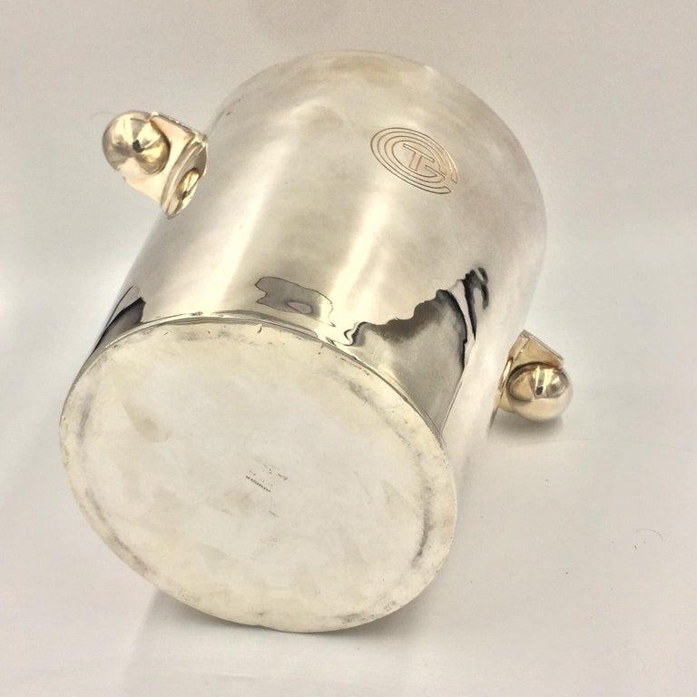Art Deco Rare Champagne Bucket Luc Lanel design for Normandy Ship, circa 1932 Christofle For Sale