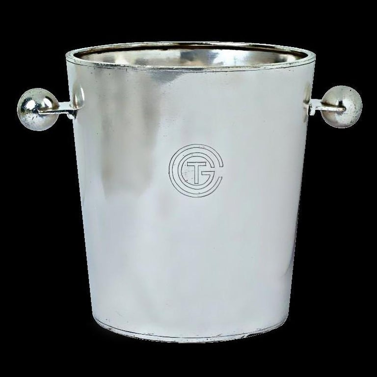 French Rare Champagne Bucket Luc Lanel design for Normandy Ship, circa 1932 Christofle For Sale