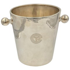 Rare Champagne Bucket Luc Lanel design for Normandy Ship, circa 1932 Christofle