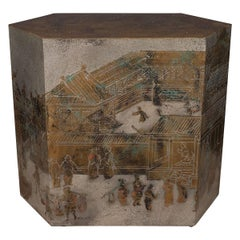 "Rare ""Chan"" Chinoiserie Hexagonal Side Table"