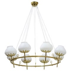 Rare Chandelier by Hans Bergström for Ateljé Lyktan, Sweden, 1940s