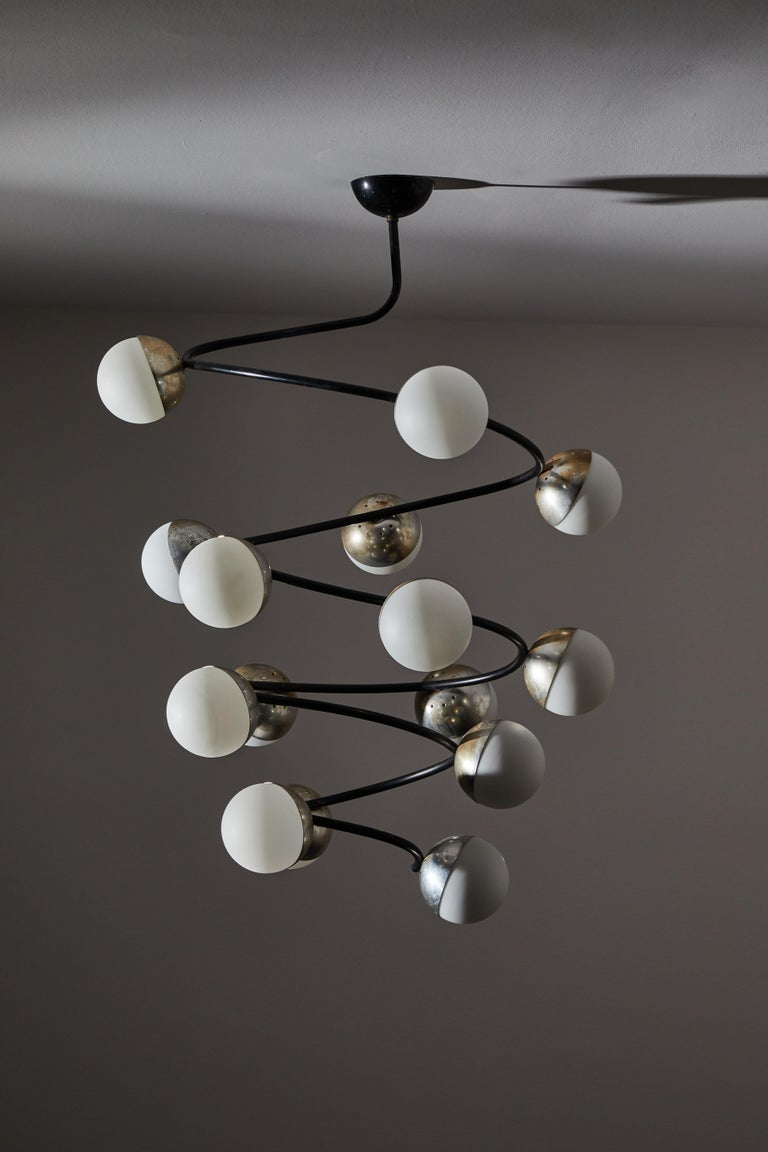 Mid-20th Century Rare Chandelier by Stilnovo For Sale