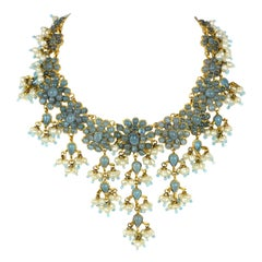 Rare Chanel 1990s's Vintage Blue Gripoix & Faux Pearl Statement Necklace