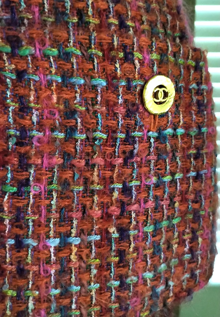 Brown Rare Chanel 1994 94A Runway Multicolor Fantasy Tweed Top Skirt Suit FR 40/ US 8 For Sale