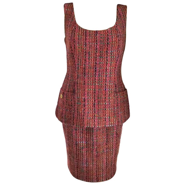 Rare Chanel 1994 94A Runway Multicolor Fantasy Tweed Top Skirt Suit FR 40/ US 8 For Sale