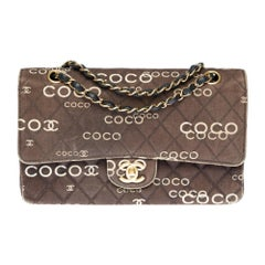 """Rare Chanel 2.55 """"Coco Chanel"""" shoulder bag in brown printed quilted canvas, GHW"""