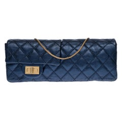 Rare CHANEL 2.55 double-sided metallic blue quilted leather pouch/bag