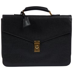 Rare Chanel 90's Black Caviar Leather Briefcase Bag