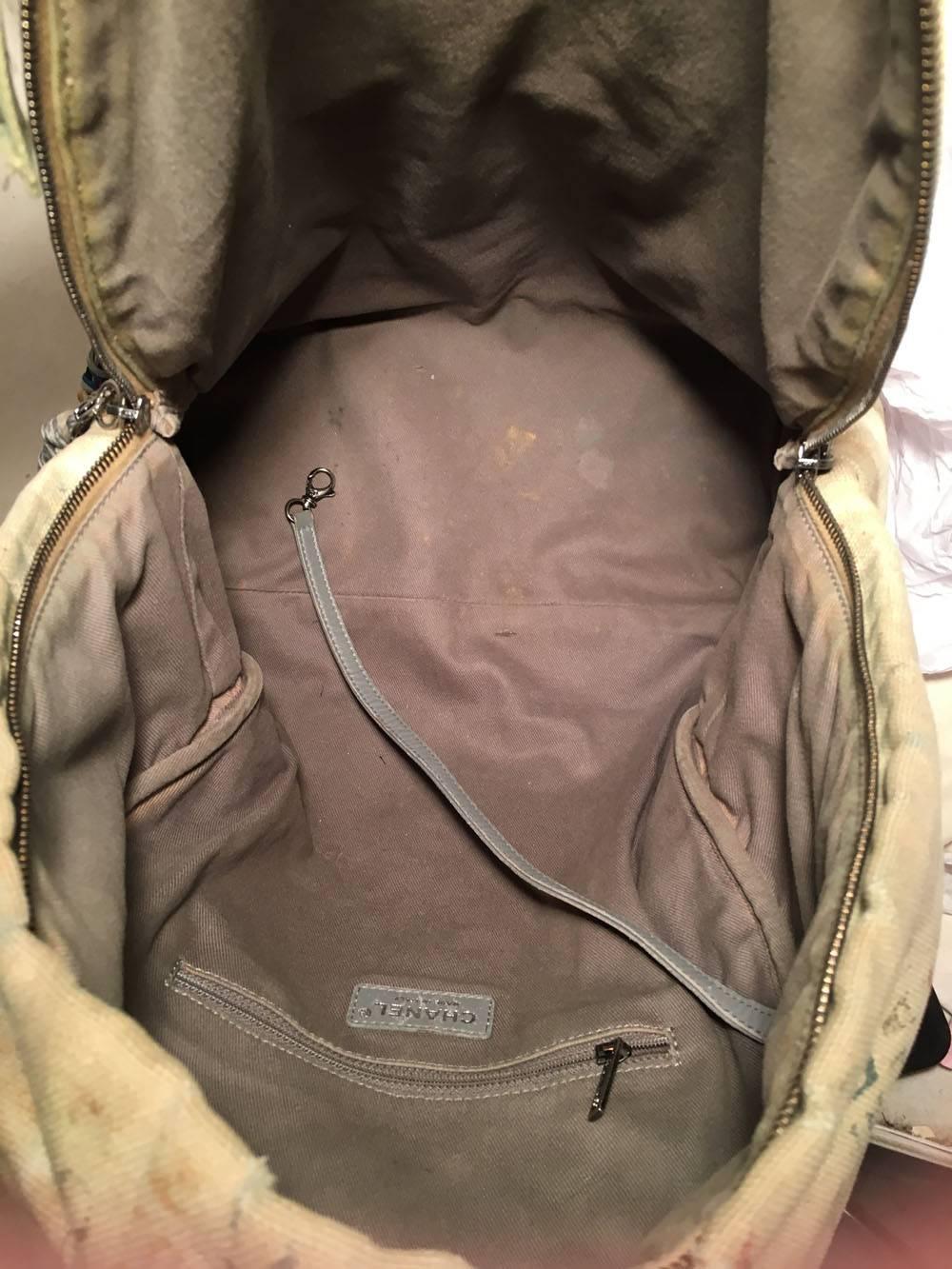 6768f1d69fe3 Chanel Graffiti Printed Canvas Medium Backpack Grey - BD Fabrications