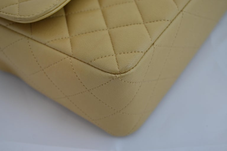 RARE Chanel Beige Quilted Leather Top Handle Medium Bag For Sale 7