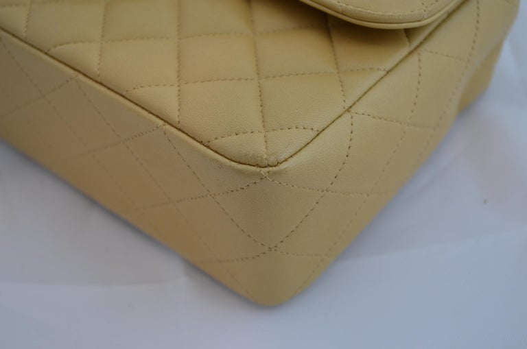 RARE Chanel Beige Quilted Leather Top Handle Medium Bag For Sale 8