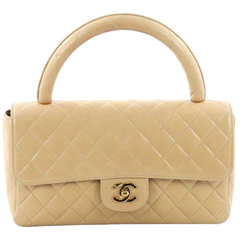 RARE Chanel Beige Quilted Leather Top Handle Medium Bag For Sale