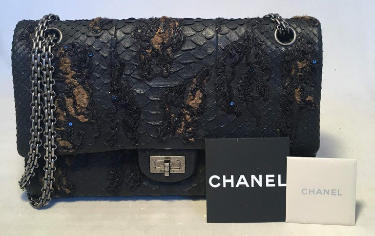 RARE Chanel Black Embroidered Python 2.55 Classic Flap Reissue 226 For Sale 7