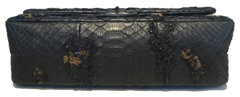 Women's RARE Chanel Black Embroidered Python 2.55 Classic Flap Reissue 226 For Sale