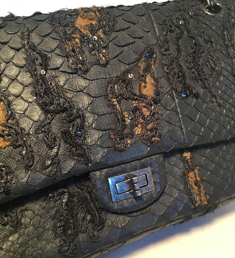 RARE Chanel Black Embroidered Python 2.55 Classic Flap Reissue 226 For Sale 1