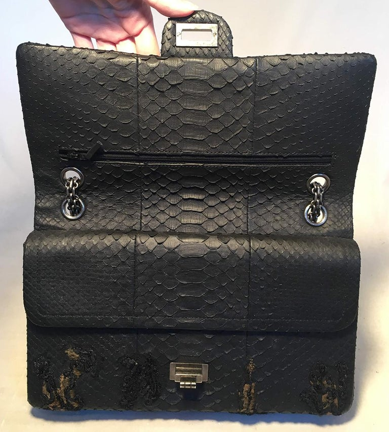 RARE Chanel Black Embroidered Python 2.55 Classic Flap Reissue 226 For Sale 2