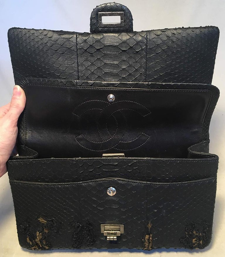 RARE Chanel Black Embroidered Python 2.55 Classic Flap Reissue 226 For Sale 3