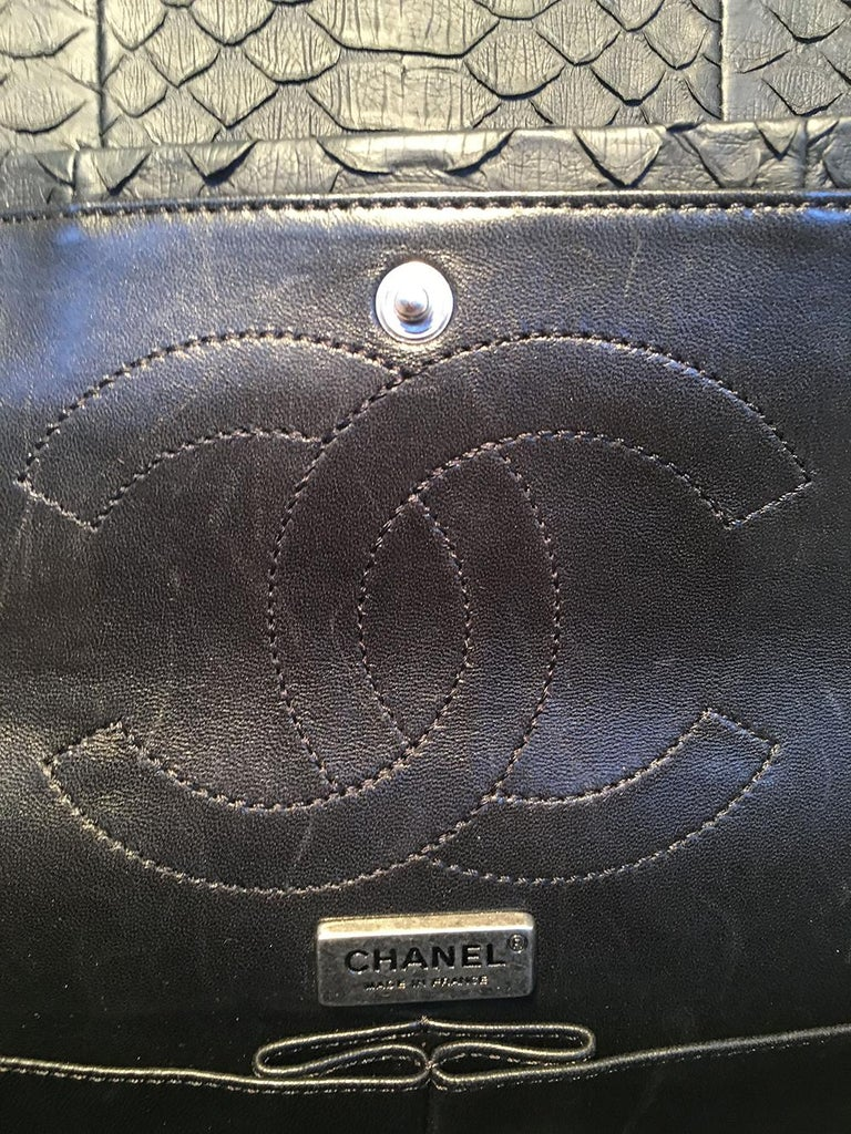 RARE Chanel Black Embroidered Python 2.55 Classic Flap Reissue 226 For Sale 4